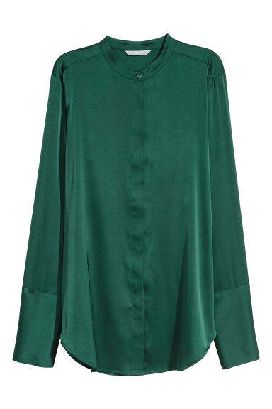 Satin blouse - Dark green - Ladies | H&M