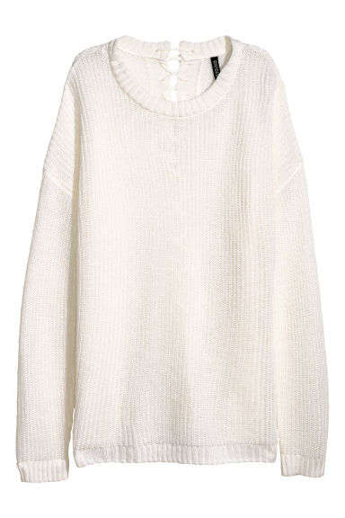 Knitted jumper with lacing - White - Ladies | H&M