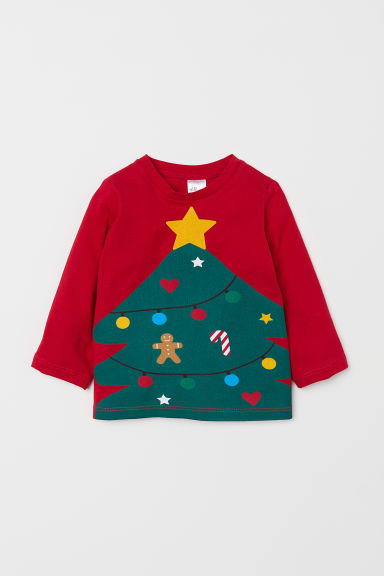 Jersey top - Red/Christmas tree - Kids | H&M