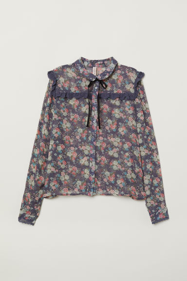 Blouse with ties - Pigeon blue/Floral -  | H&M