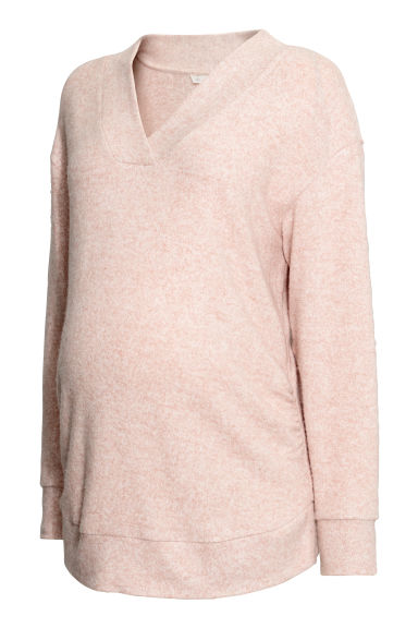 MAMA Fine-knit jumper - Powder pink -  | H&M CN