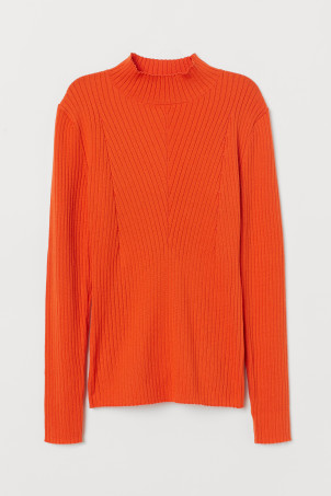 Ribbed Mock-turtleneck Sweater