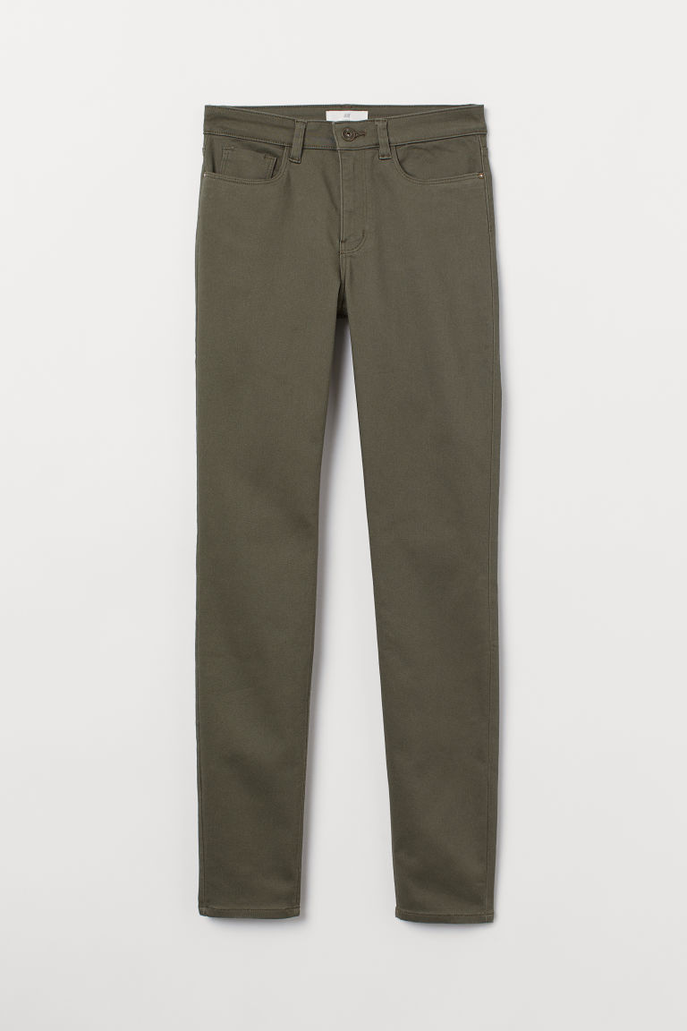 Slim-fit Pants - Khaki green - Ladies | H&M US