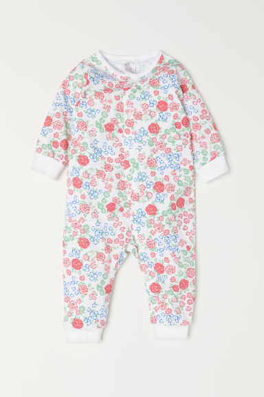 All-in-one jersey pyjamas - Pink/Patterned - Kids | H&M