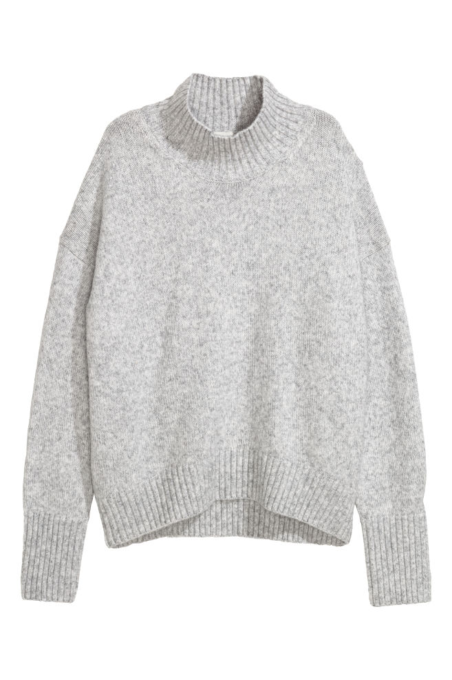3ee1bdfc4f8e5d Knitted polo-neck jumper - Light grey marl - Ladies | H&M ...