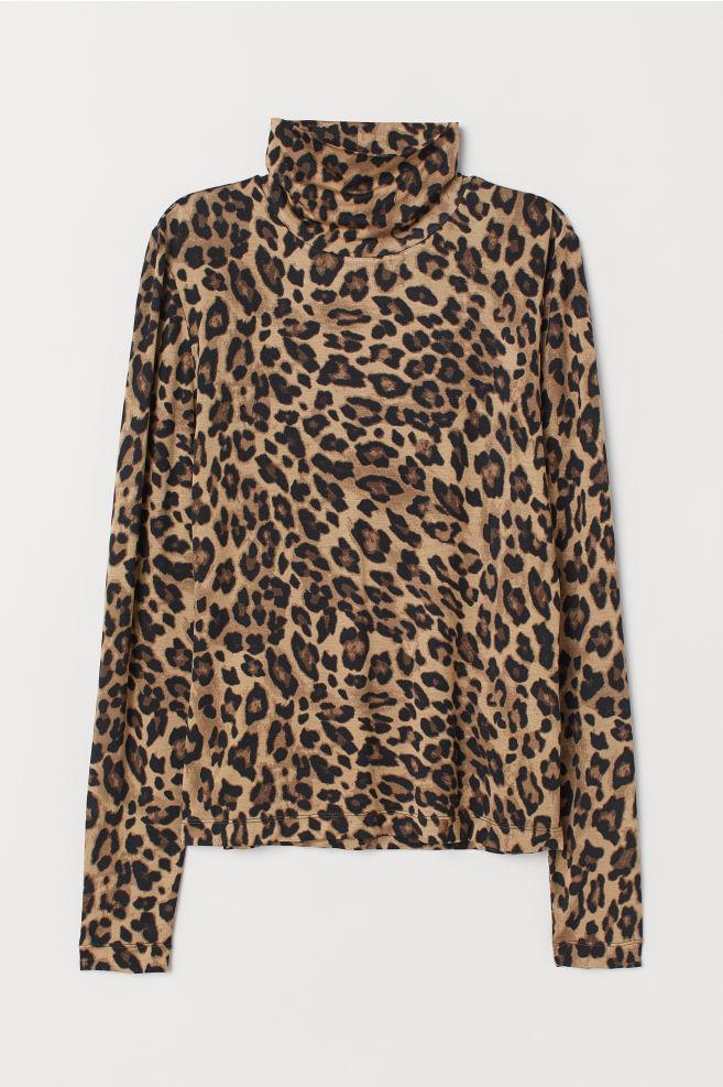 47e97a43 Jersey Turtleneck Top - Beige/leopard print - Ladies | H&M US 1