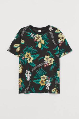 Patterned cotton T-shirt