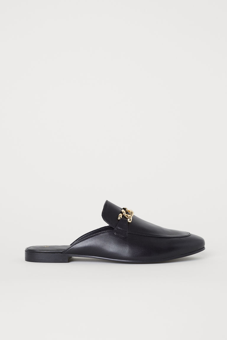 Leather slip-on loafers - Black - Men | H&M CN