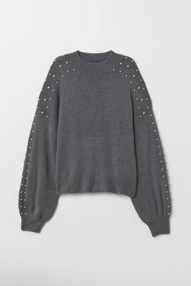 Beaded jumper - Dark grey marl -  | H&M