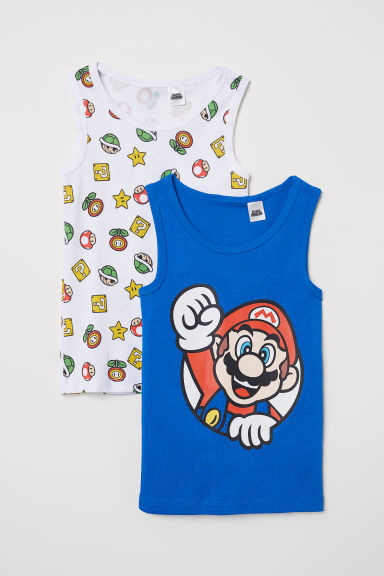 2-pack vest tops - Cornflower blue/Super Mario - Kids | H&M CN