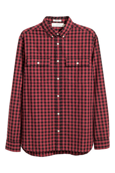 Cotton shirt Regular fit - Black/Red checked -  | H&M