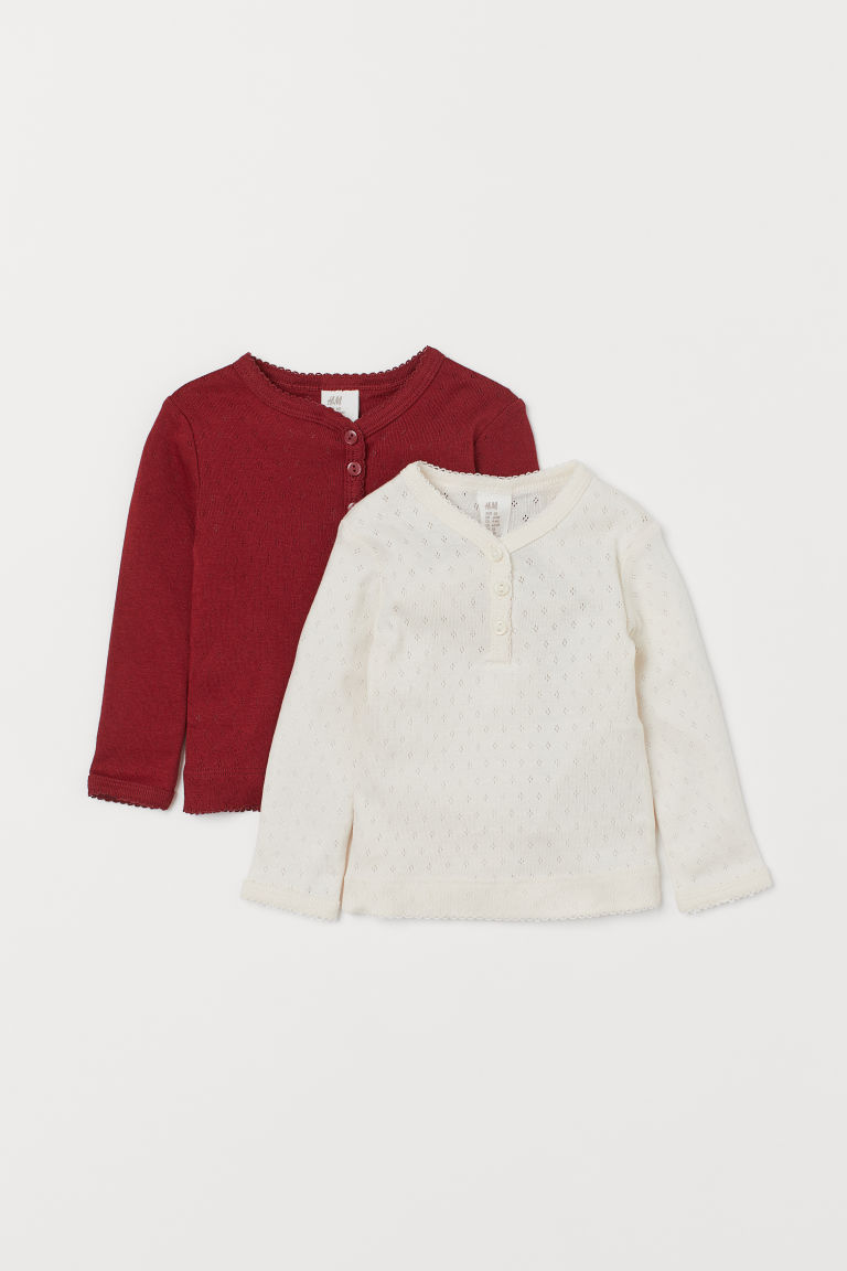 Maglie a pointelle, 2 pz - Rosso scuro/bianco naturale - BAMBINO | H&M CH