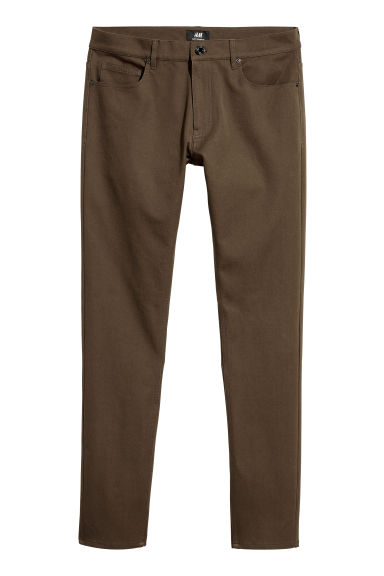 Trousers Super Skinny Fit - Dark khaki green - Men | H&M