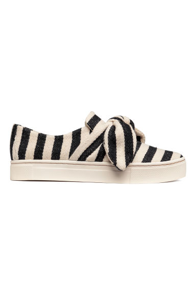 Slip-on trainers - White/Black striped -  | H&M