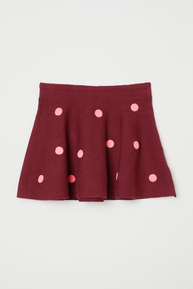 Fine-knit skirt - Dark red/Spotted - Kids | H&M CN