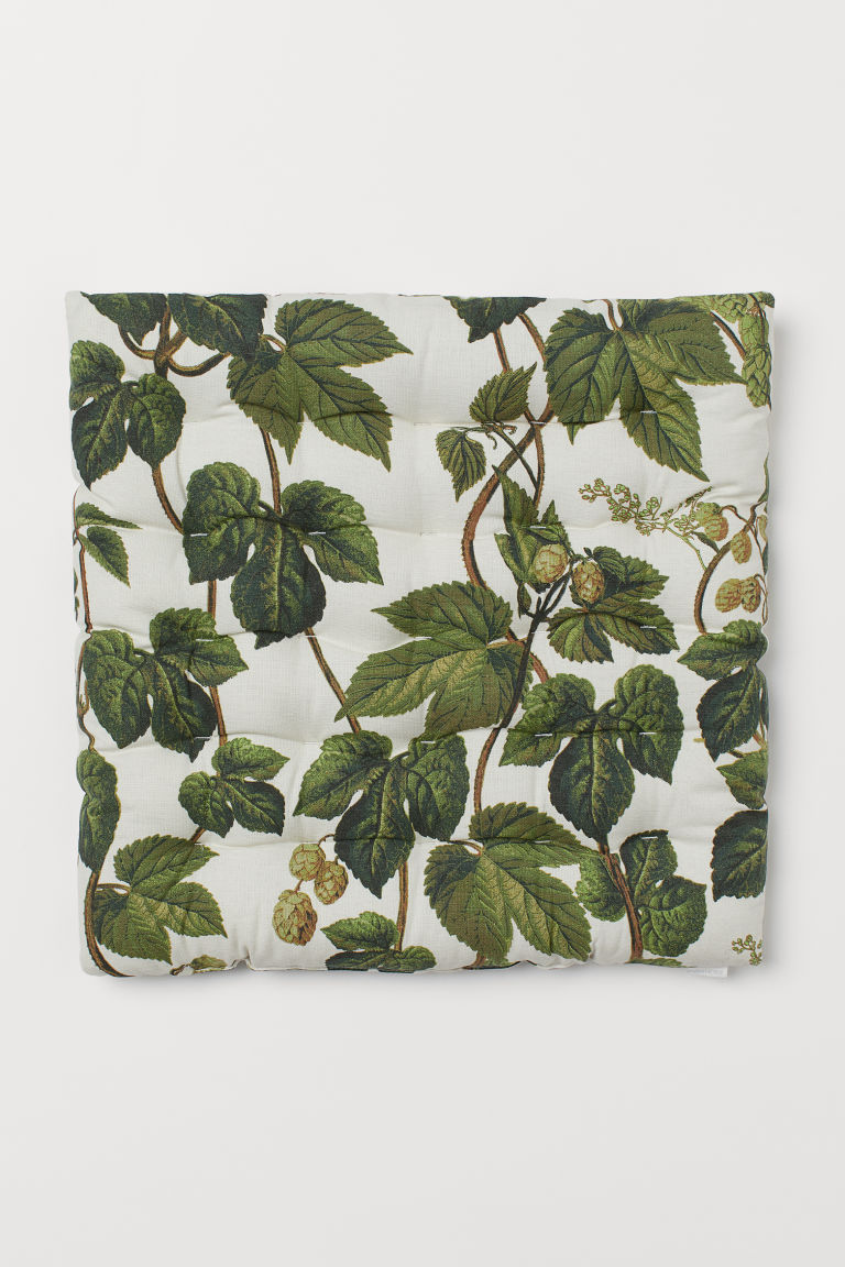 Patterned seat cushion - Natural white/Leaf print - Home All | H&M GB