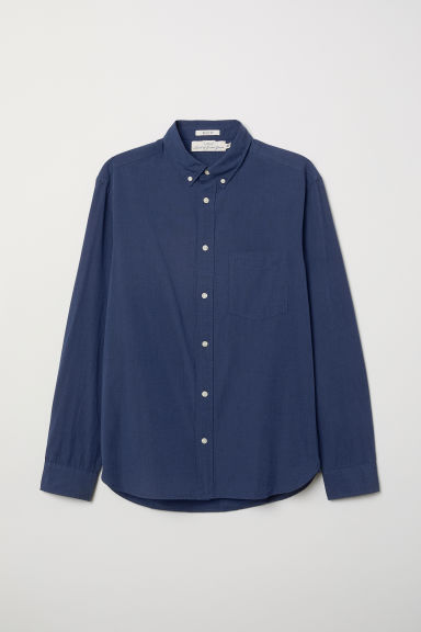 Poplin shirt Regular fit - Dark blue - Men | H&M