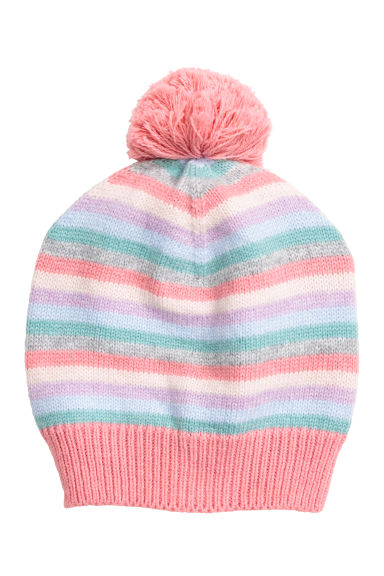 Knitted pompom hat - Pink/Striped - Kids | H&M