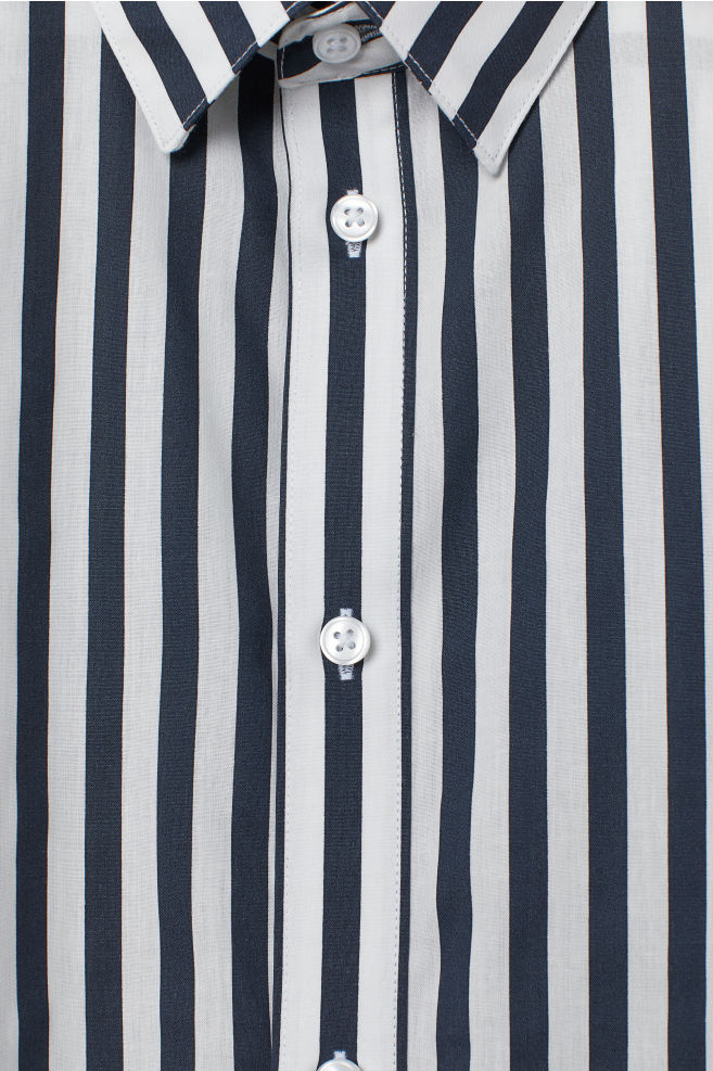 3bb58a0bef0d ... Easy-iron shirt Slim fit - Black White striped - Men