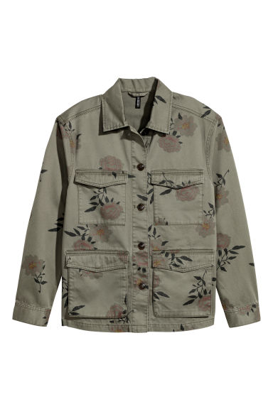 Utility jacket - Khaki green/Floral - Ladies | H&M