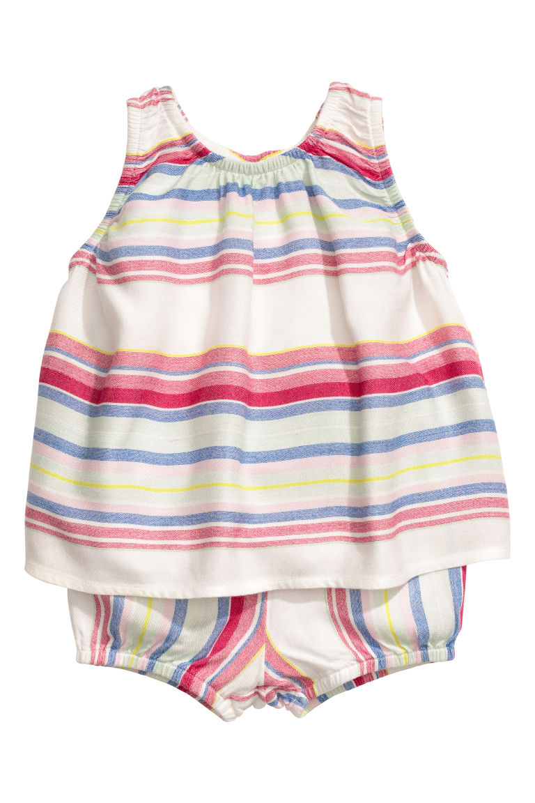 Top and shorts - White/Multicoloured stripes - Kids | H&M CN