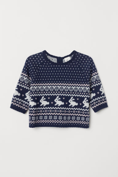 Jacquard-knit jumper - Dark blue/Patterned - Kids | H&M CN