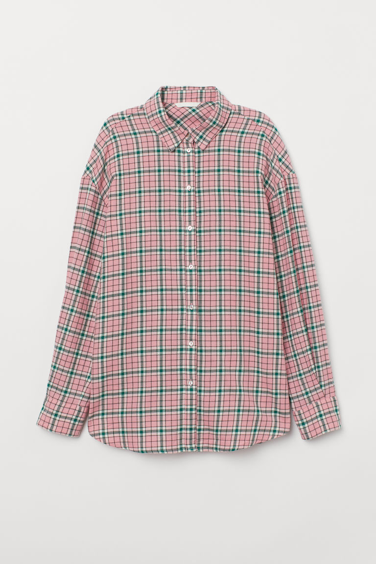 Flannel shirt - Pink/Checked - Ladies | H&M