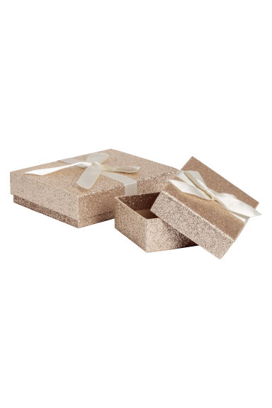 2-pack glittery gift boxes - Gold-coloured/Glittery - Ladies | H&M IE