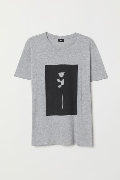Printed T-shirt - Light grey marl - Men | H&M CN