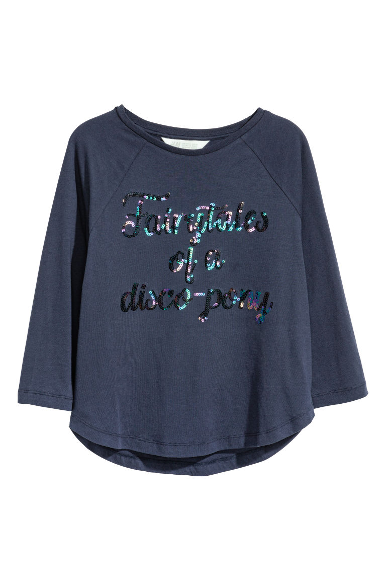 Printed jersey top - Dark blue/Sequins - Kids | H&M CN