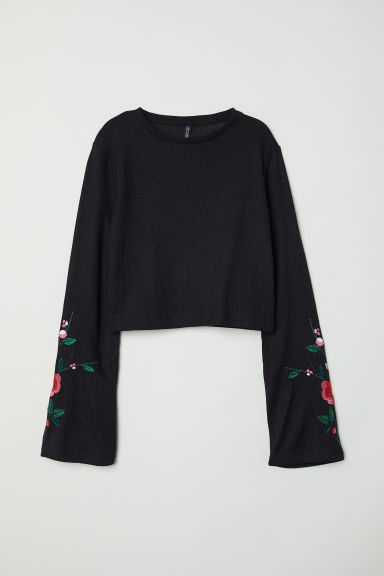 Top avec broderies - Noir -  | H&M BE
