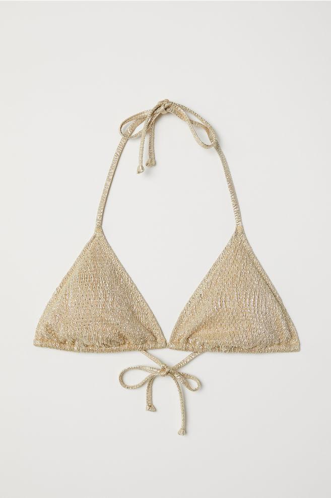 97dc504da12f1 Glittery Triangle Bikini Top - Gold-colored/glittery - Ladies | H&M ...