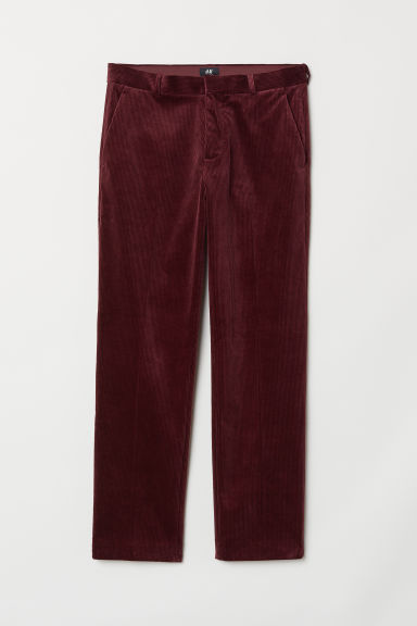 Ribfluwelen broek Regular fit - Bordeauxrood - HEREN | H&M BE