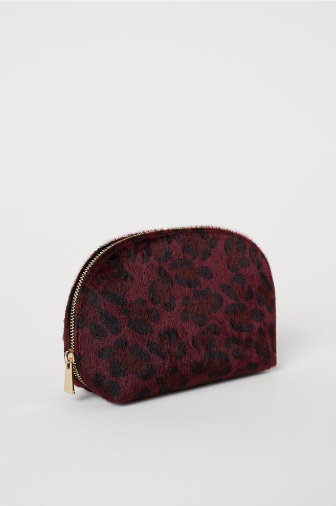 Faux Fur Makeup Bag - Dark red leopard print - Ladies  0c09f636a4dd5
