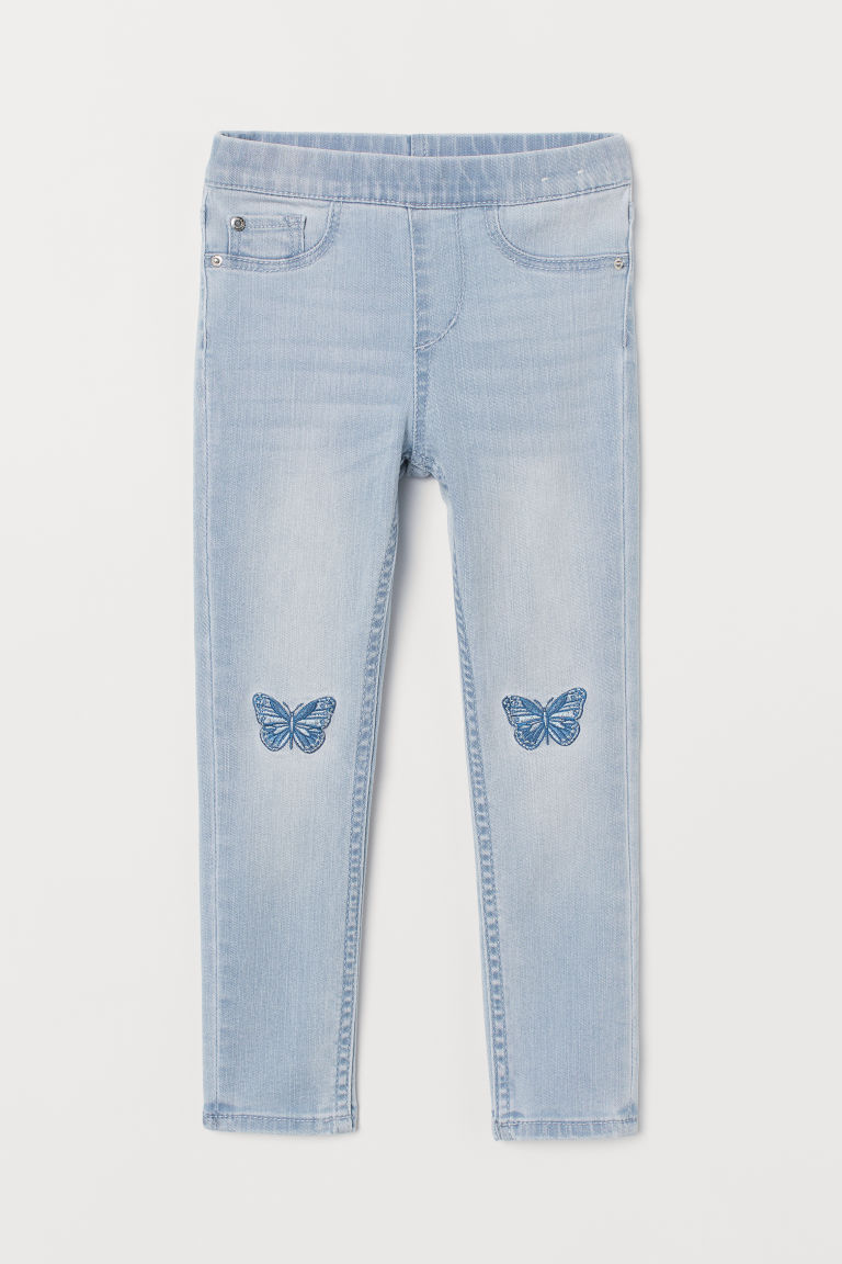 Denim Leggings with Appliqués - Light blue denim/butterflies - Kids | H&M US