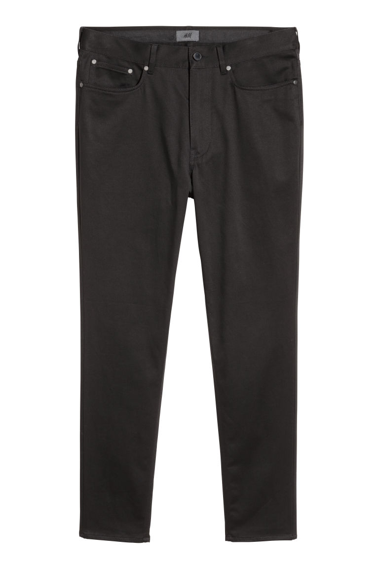 Satin trousers Skinny fit - Black - Men | H&M