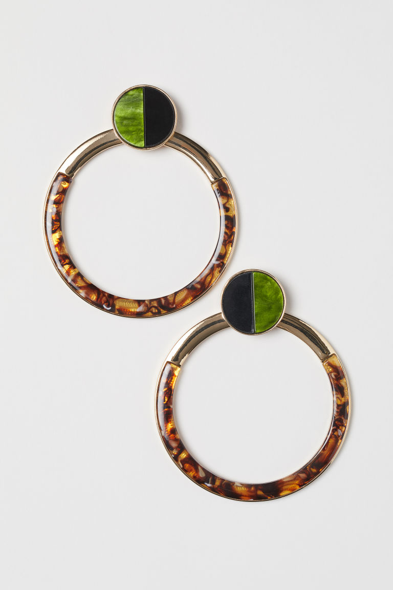 Large round earrings - Gold-coloured/Green - Ladies | H&M CN
