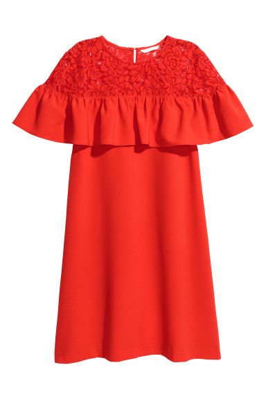 Dress with a lace yoke - Red -  | H&M CN