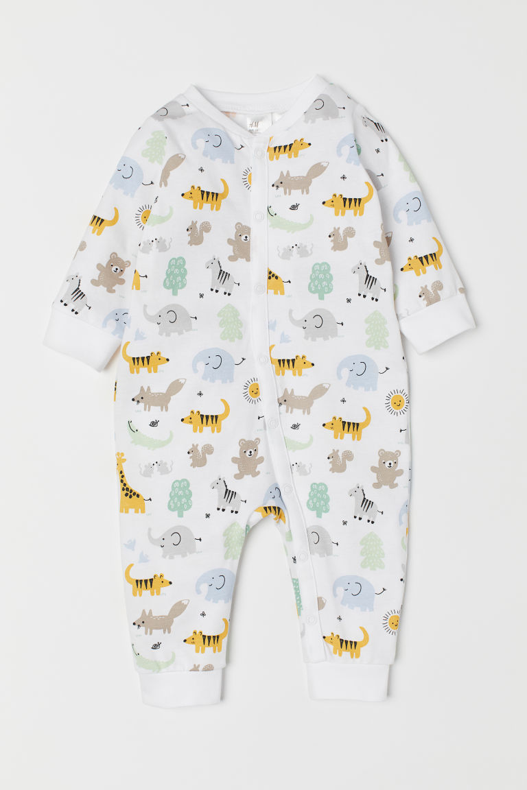 Printed all-in-one pyjamas - White/Animals -  | H&M