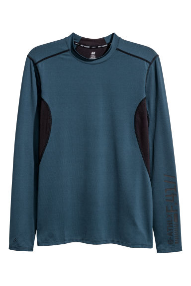 Long-sleeved sports top - Dark blue - Men | H&M