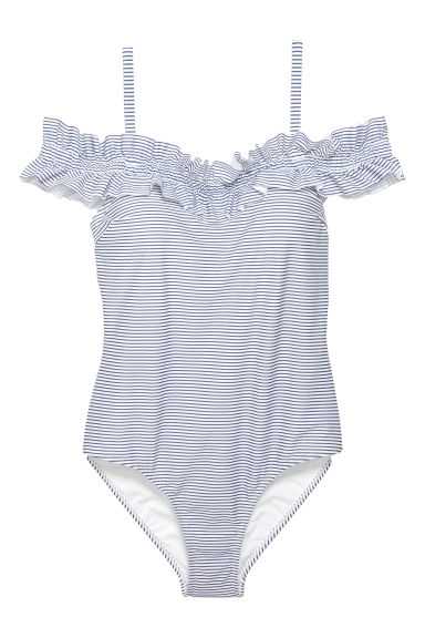 H&M+ Off-the-shoulder swimsuit - White/Blue striped - Ladies | H&M