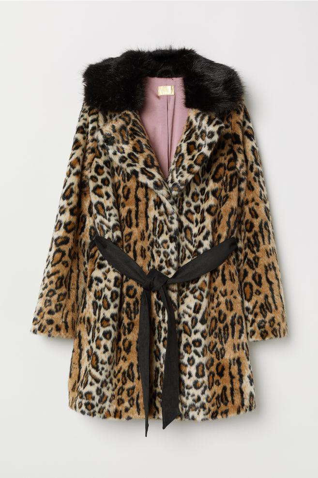 9809fab062 Faux Fur Coat - Beige/leopard print - Ladies   H&M US 1