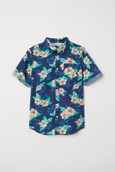 Short-sleeved shirt - Dark blue/Patterned - Kids | H&M CN