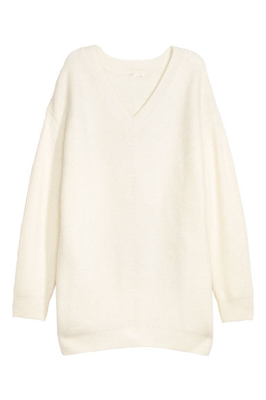 Knitted jumper - Natural white -  | H&M CN