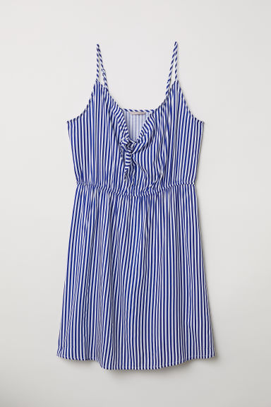 H&M+ Tie-detail dress - Blue/White striped - Ladies | H&M CN