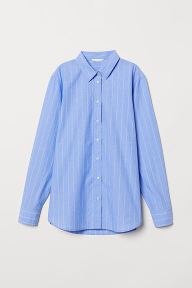 Cotton shirt - Light blue/Striped - Ladies | H&M CN