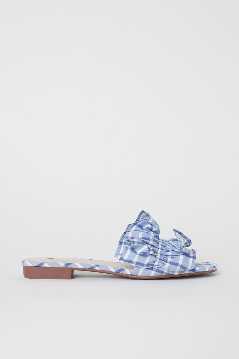 Mules - Light blue/Checked - Ladies | H&M