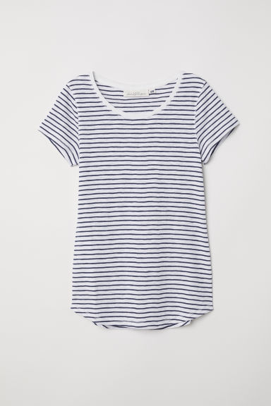 Striped jersey top - White/Blue striped - Ladies | H&M CN