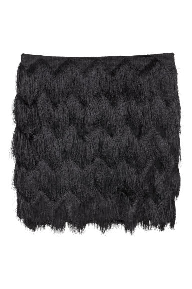 Skirt with fringes - Black - Ladies | H&M CN