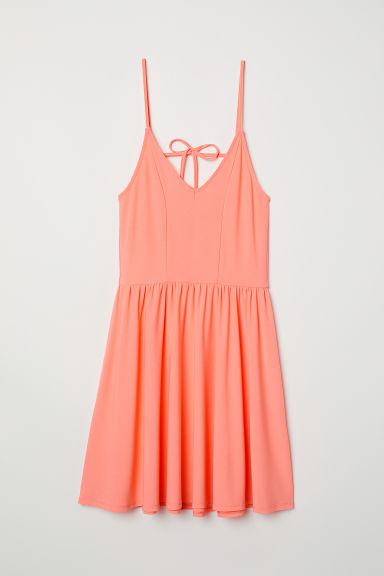 Sleeveless jersey dress - Neon coral - Ladies | H&M CN